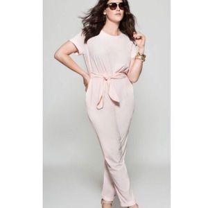 Eloquii Pink Belted Jumpsuit